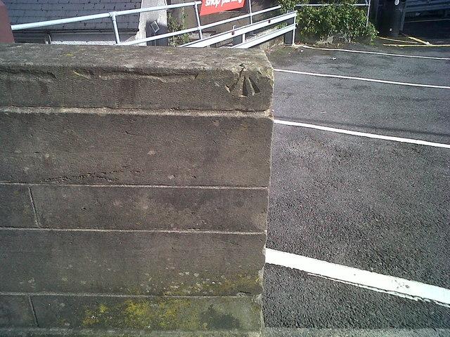 Ordnance Survey Benchmark and Rivet , Carmarthen Bridge