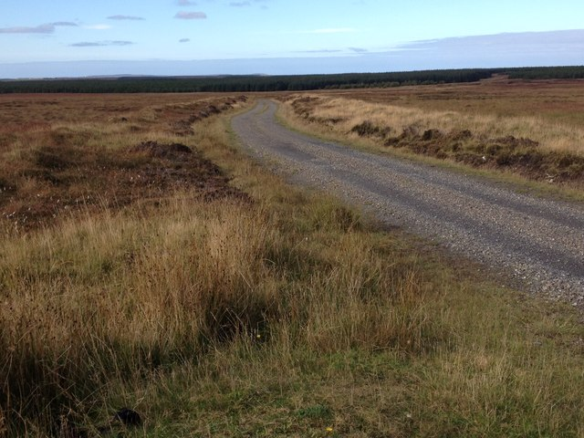 Gravel track across the moorland to Stroupster