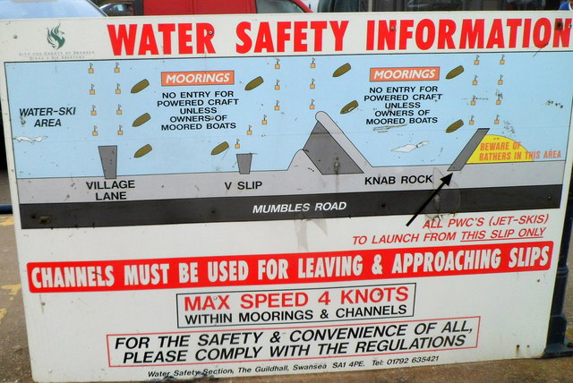 Water Safety Information board, Mumbles, Swansea