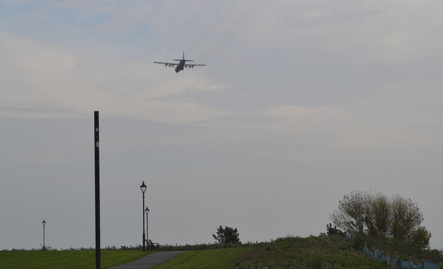 Transport Plane heading for Warton Airfield, viewed from Lytham Quays - 1