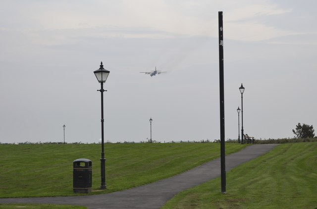 Transport Plane heading for Warton Airfield, viewed from Lytham Quays - 2