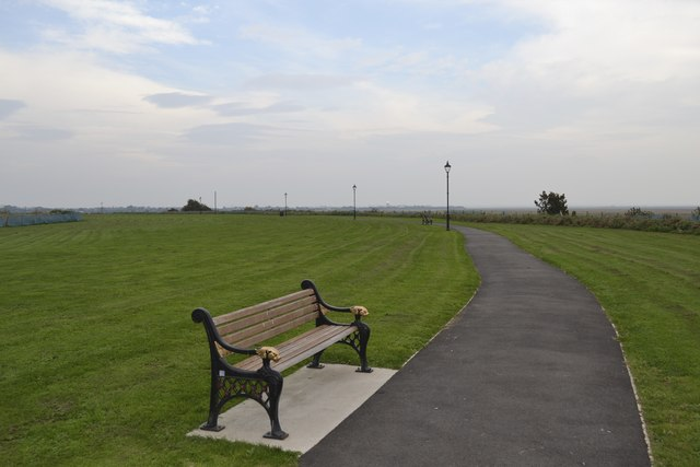Seat with a view over the River Ribble Estuary, at Lytham Quays, Lytham