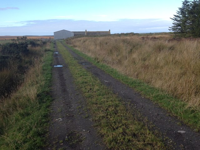 Track to farm buildings at Stroupster