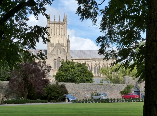 Wells Cathedral seen from the Bishop's Palace Green