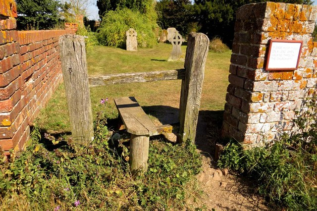 Stile into St Mary's churchyard