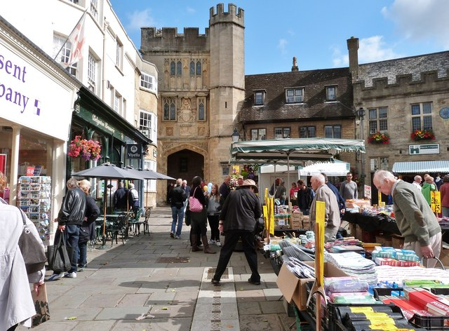 The market area of the High Street, Wells