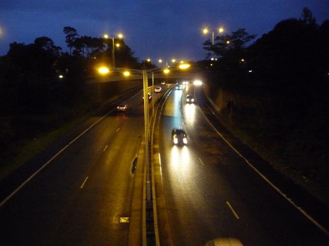 Bournemouth: Wessex Way at nightfall
