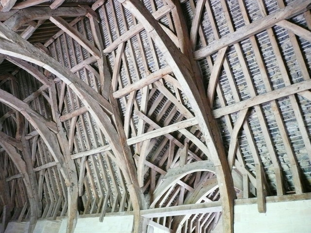 Part of the roof structure, Barton Tithe Barn