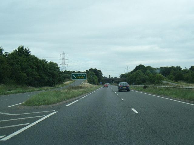 A5148 at Lichfield exit slip