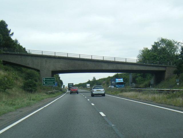 A38 northbound passing under Darnford Lane
