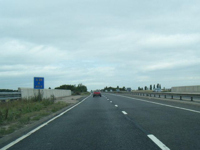 A38 at bridge over railway line