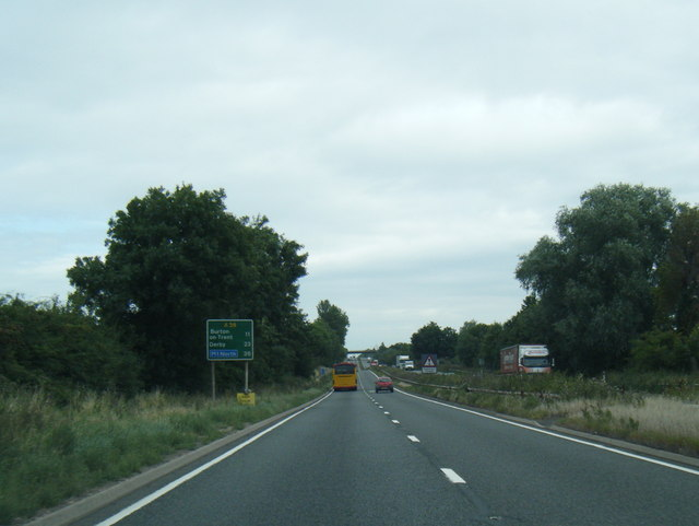A38 northbound near Streethay Bridge