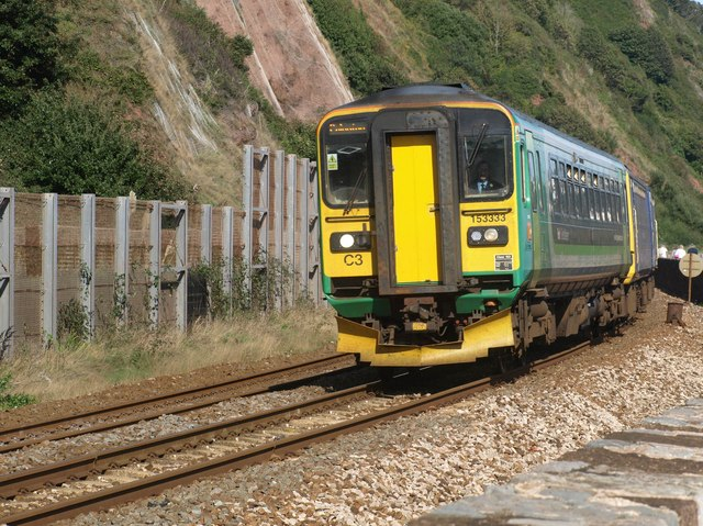 Train approaching Teignmouth