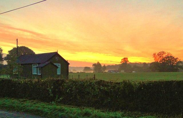 Sunrise over the village hall