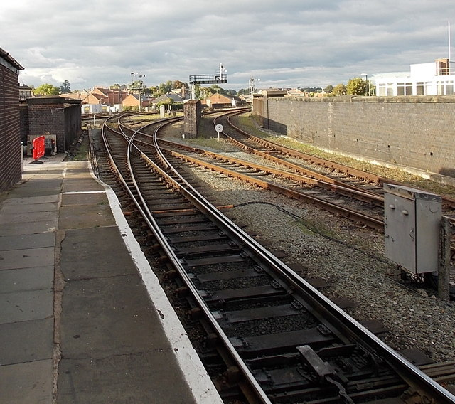Junction beyond the northern edge of  Shrewsbury railway station