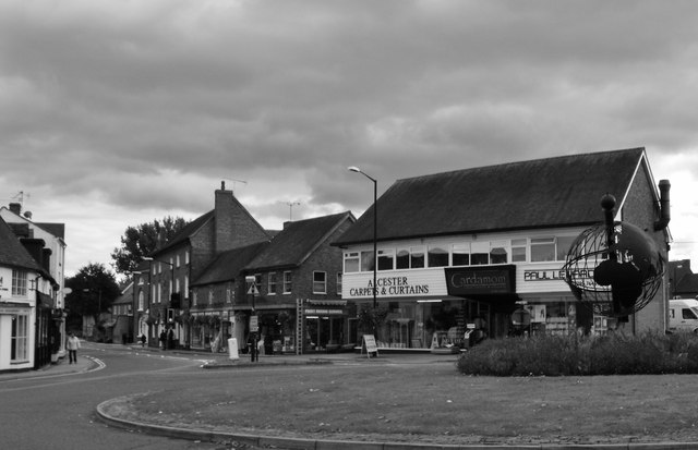 Swan Street and globe sculpture, Alcester