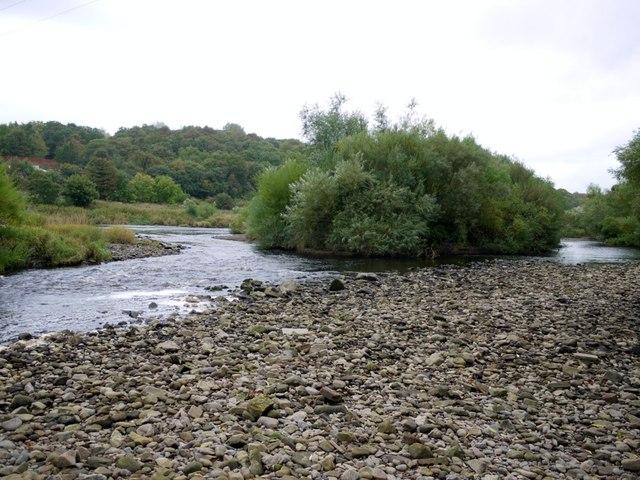 Shingle islands on the River Tyne south of Ovingham