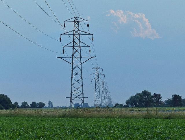 Electricity pylons crossing Kirton Marsh