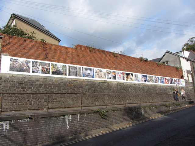 Photographic art on a Cardiff Wall