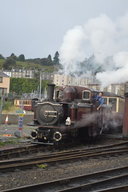 Merddyn Emrys assembles its train at Harbour station