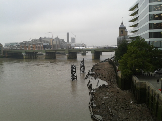 View from London Bridge towards Southwark Bridge on the north side of the Thames