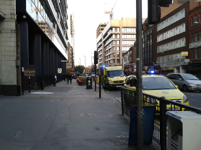 Aldgate High Street, outside Aldgate underground station, looking north east
