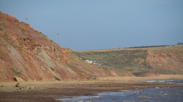 View along the coast from Chilton Chine showing Grange Farm static holiday homes
