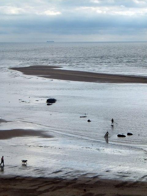 Beach and sandbank at Orcombe
