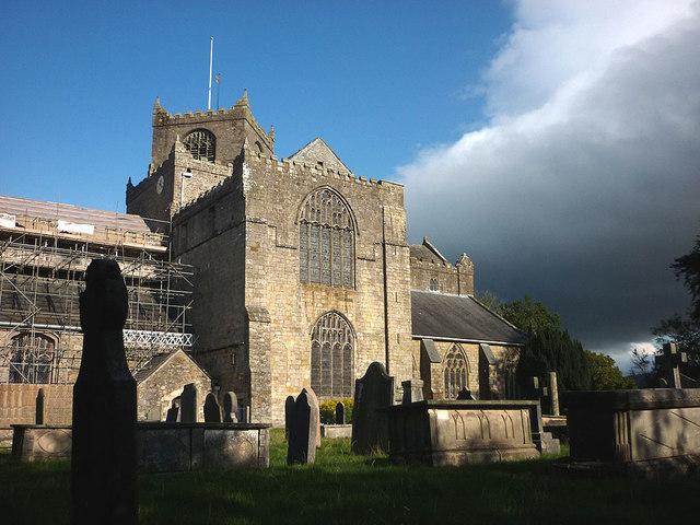 Cartmel Priory and graveyard