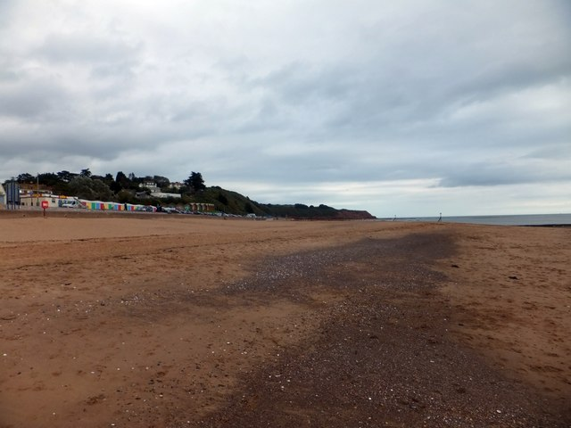 Looking east along Exmouth beach towards Orcombe