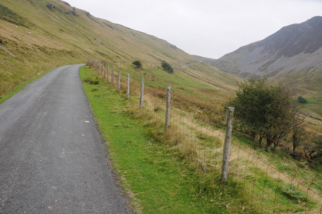 Mountain road climbing to Bwlch y Groes