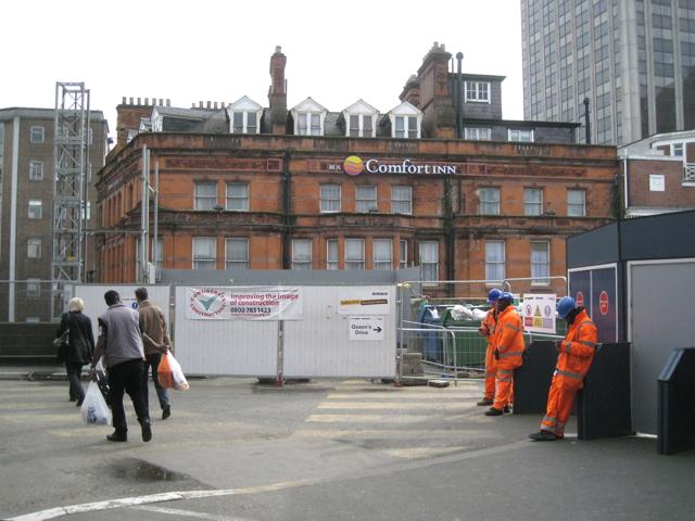 Upper storeys of the Comfort Inn, Station Street, seen across Queen's Drive