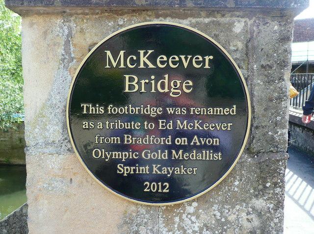 Plaque on the Ed McKeever Footbridge