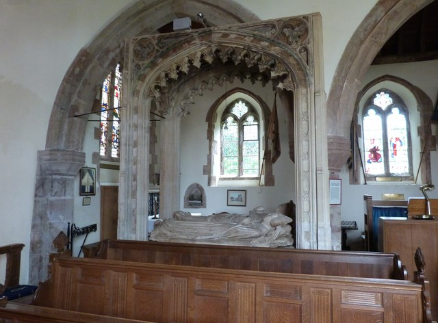 Interior of St Dubricius Church showing the Harington tomb