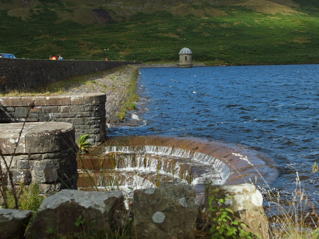 Wall of Upper Lliw Reservoir