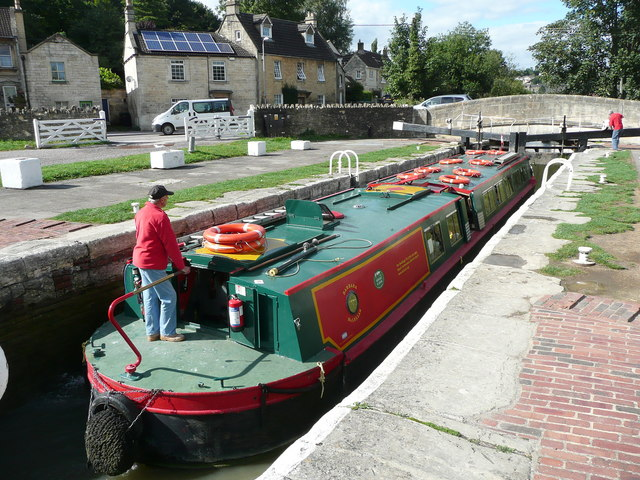 Cruise barge in the lock at Bradford-on-Avon