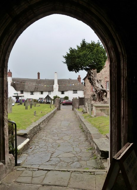 View from the porch of St Dubricius Church, Porlock