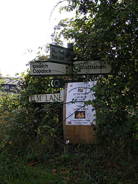 Roadsign on Elm Lane