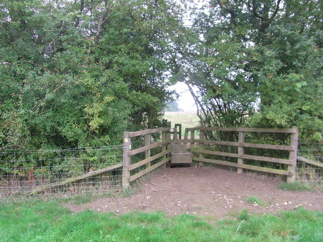 Footbridge between fields