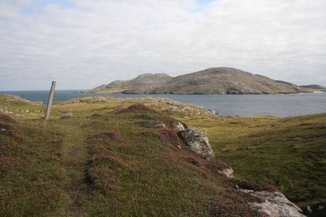 The southern end of Vatersay, with Sandray behind