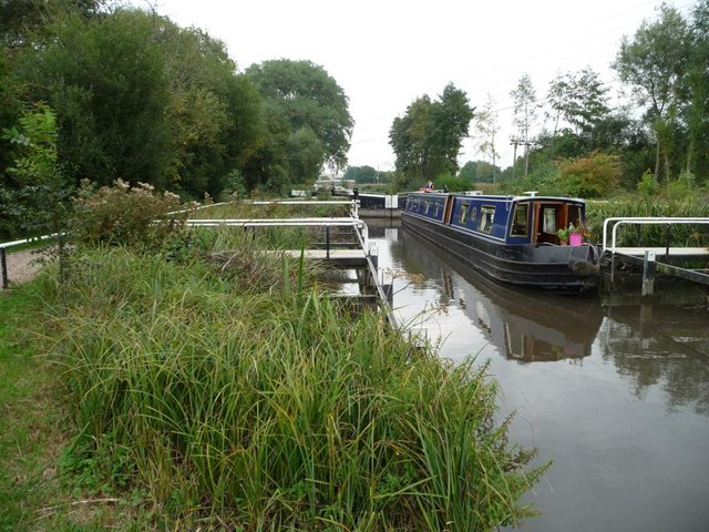Monkey Marsh lock almost full as a boat ascends