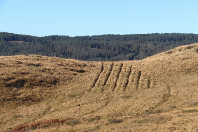 Drainage ditches below A' Chruach suggest a forestry scheme, yet to progress