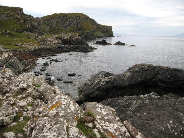 Rugged coastline south of Rubha Sloc an Eòrna