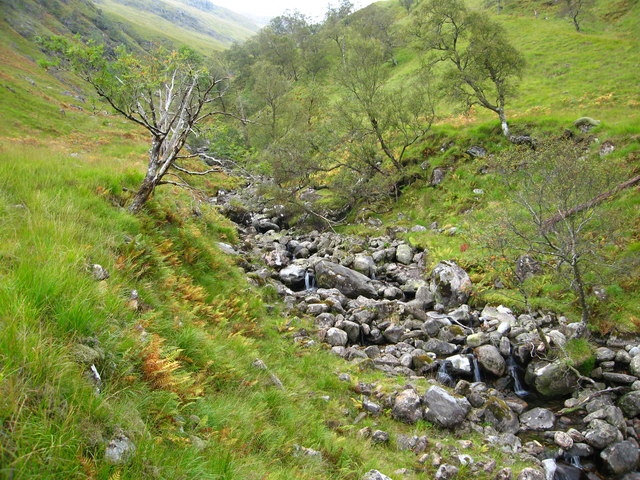 Rocky stream bed of Am Fàs-allt