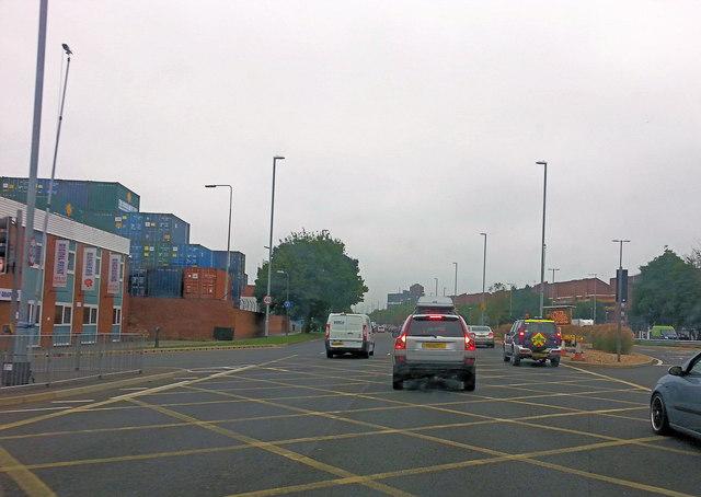 Mile End Road at its junction with Princess Royal Way