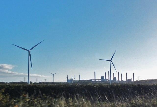 Wind turbines alongside the A189