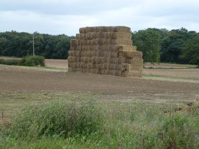 Straw stack on Stangate Hill near Sawtry