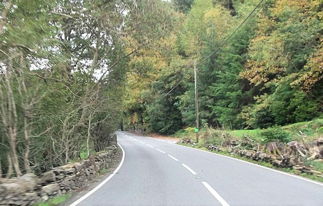 A496 at road junction west of Pont Tal-y-bont