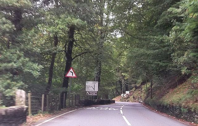 Approaching road junction at Pant Tal-y-Bont
