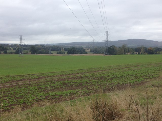 Electricity transmission lines crossing farmland near Brahan Estate